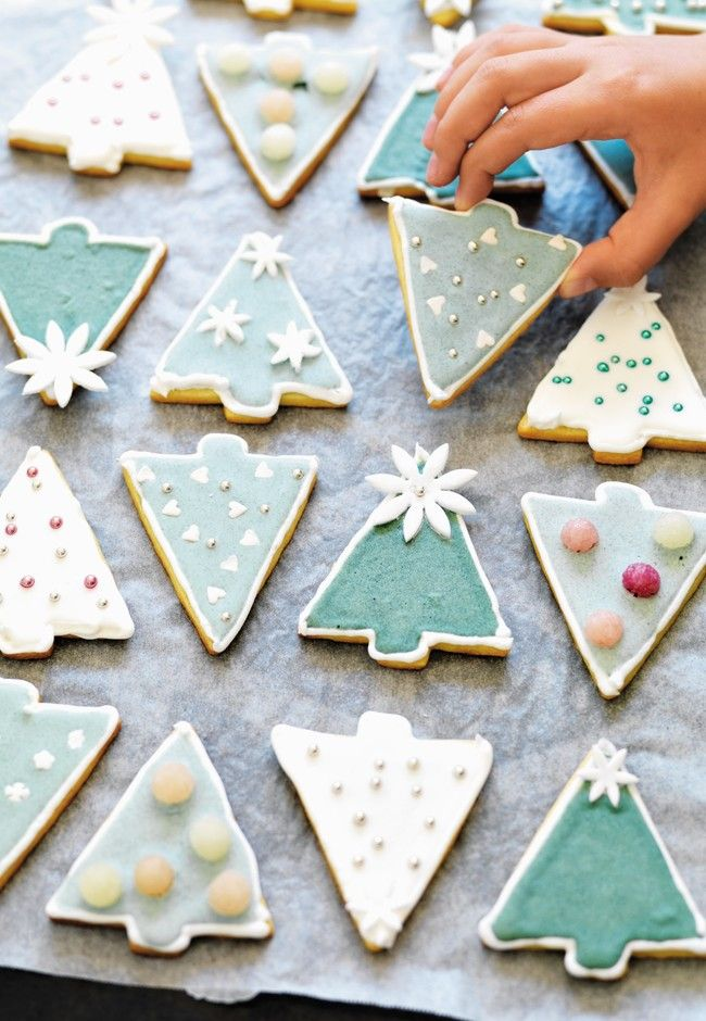 Christmas cut out cookie trees ( uses natural spirulina powder ...