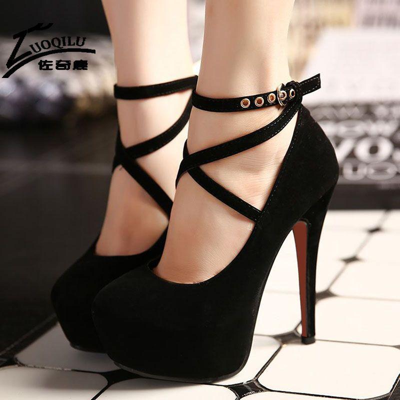 2017 Mujeres Sexy Zapatos de Tacones Altos Bombas de la Plataforma Zapatos  de Cuña de Las Señoras Zapatos de Boda Mujer Negro azul Extreme High Heels b6f4c296b990