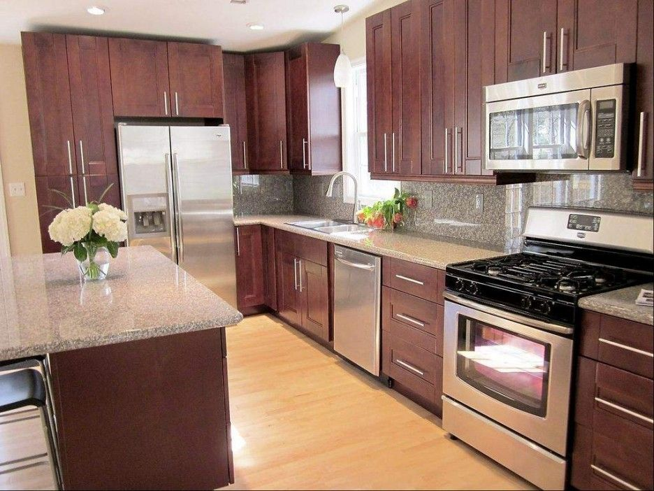 Pretty Cardinal Red Color Mahogany Wood Kitchen Cabinets Features Double Door Cabinets And Mahogany Kitchen Mahogany Cabinets Kitchen Cabinets And Countertops