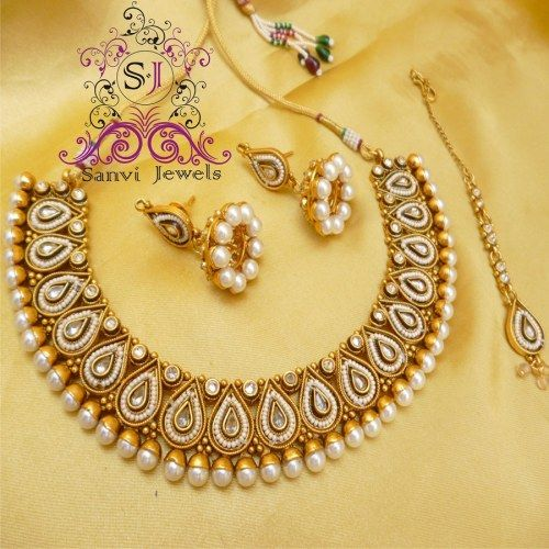 Indian Jewellery And Clothing Polki Necklace Sets From: Pearl & Polki Necklace Set