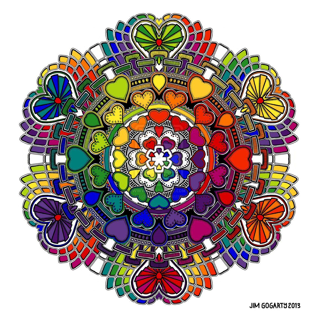 Rainbow hearts mandala....triple good vibes. | Renewal, Rebirth ...