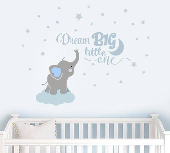 Dream Big Little One Elephant Decal Name Wall Decal Elephant Etsy In 2020 Elephant Decal Baby Boy Room Decor Baby Boy Room Nursery