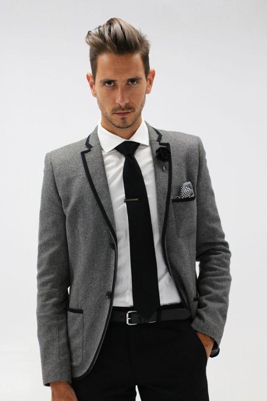 Formal Grey Suit Black Pants