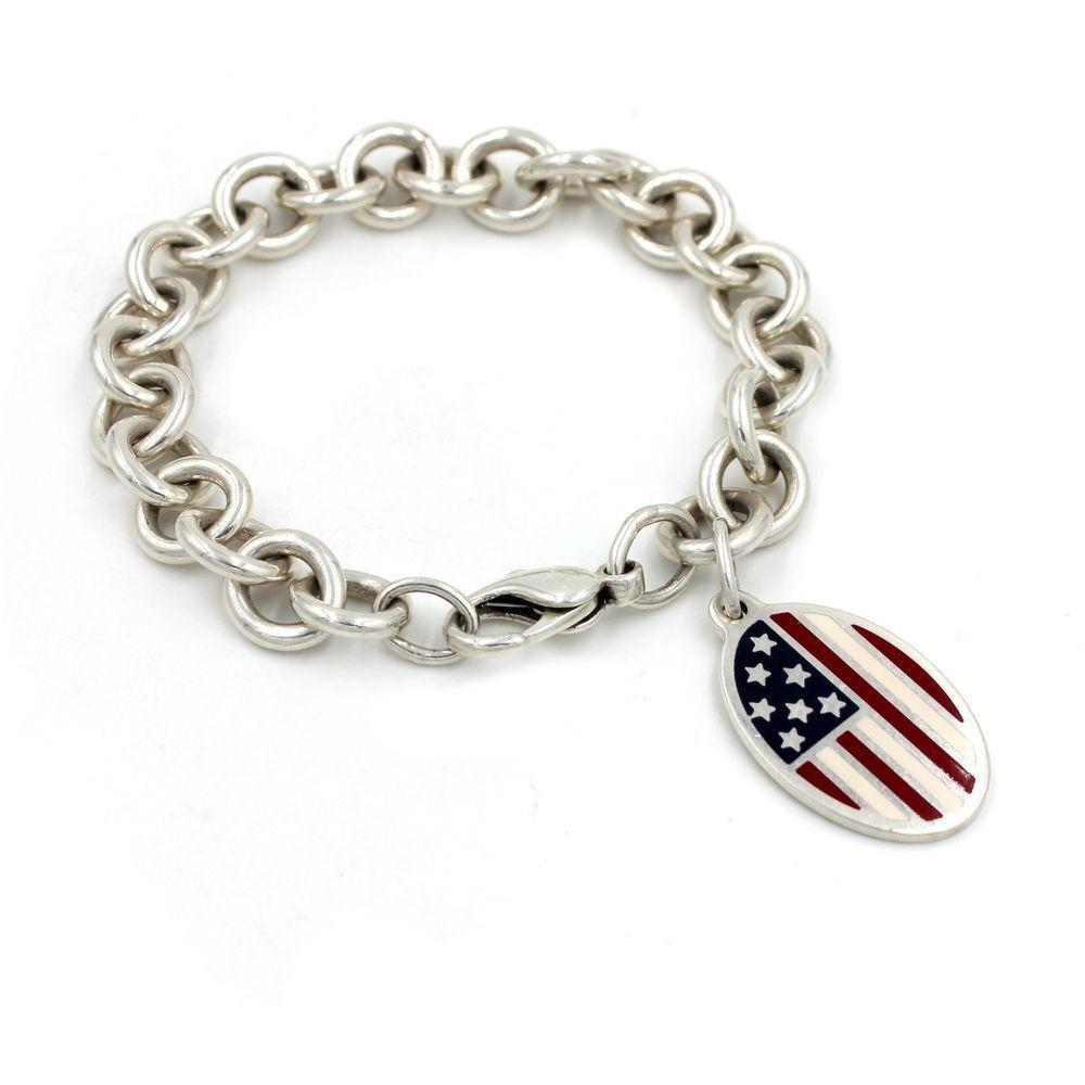89f79b04eebd7 Tiffany & Co. American Flag Charm Bracelet in 925 Sterling Silver ...