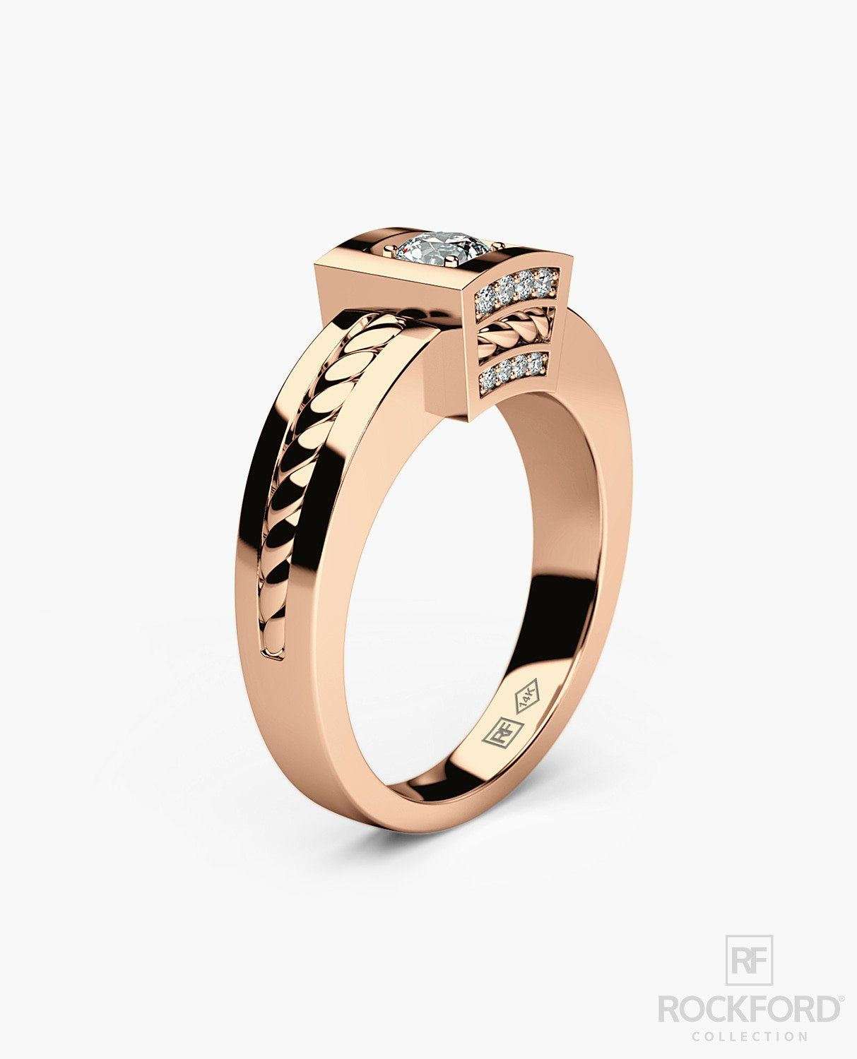 VULTURE Mens Gold Wedding Ring with 0.45 ct Diamonds