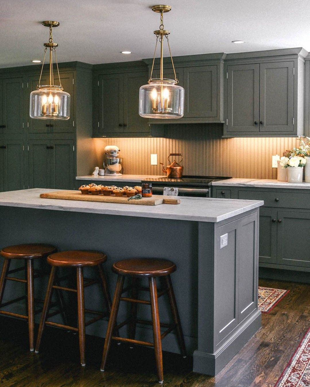 Dark Cabinets Are Trending And Thecoastalconfidence Knows How To Make Them Shine Lake House Kitchen Kitchen Style Colonial Kitchen