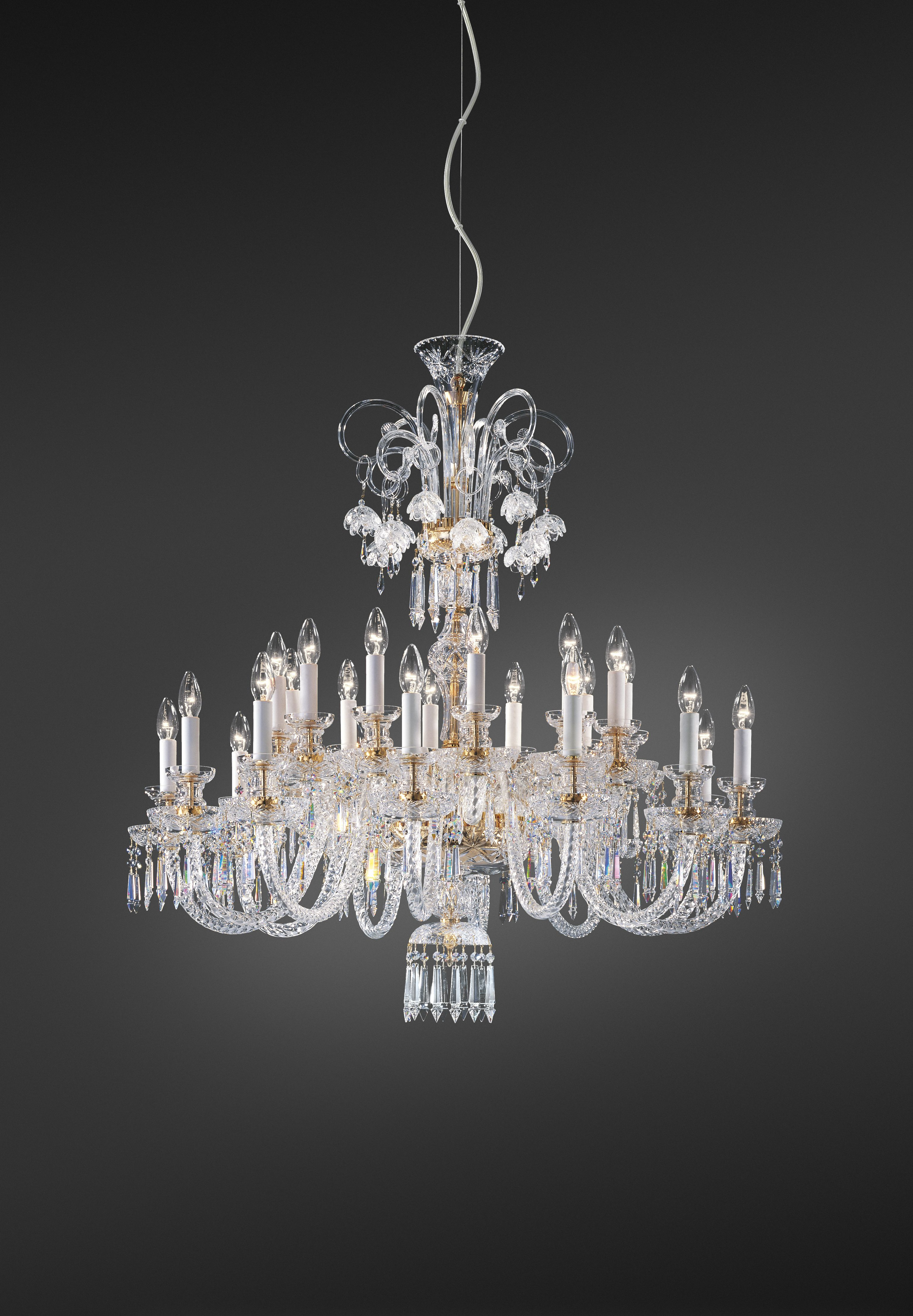 239 Chandelier in carved crystal and glass metal with gold