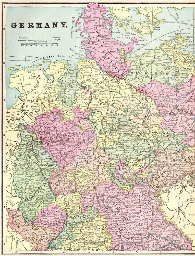 Map Of Germany 1900.1900 Antique Germany Map Gallery Wall Art Vintage Map Of Germany