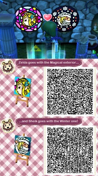 Stained Glass Zelda Sheik Acnl Qr Codes Qr Codes Animal