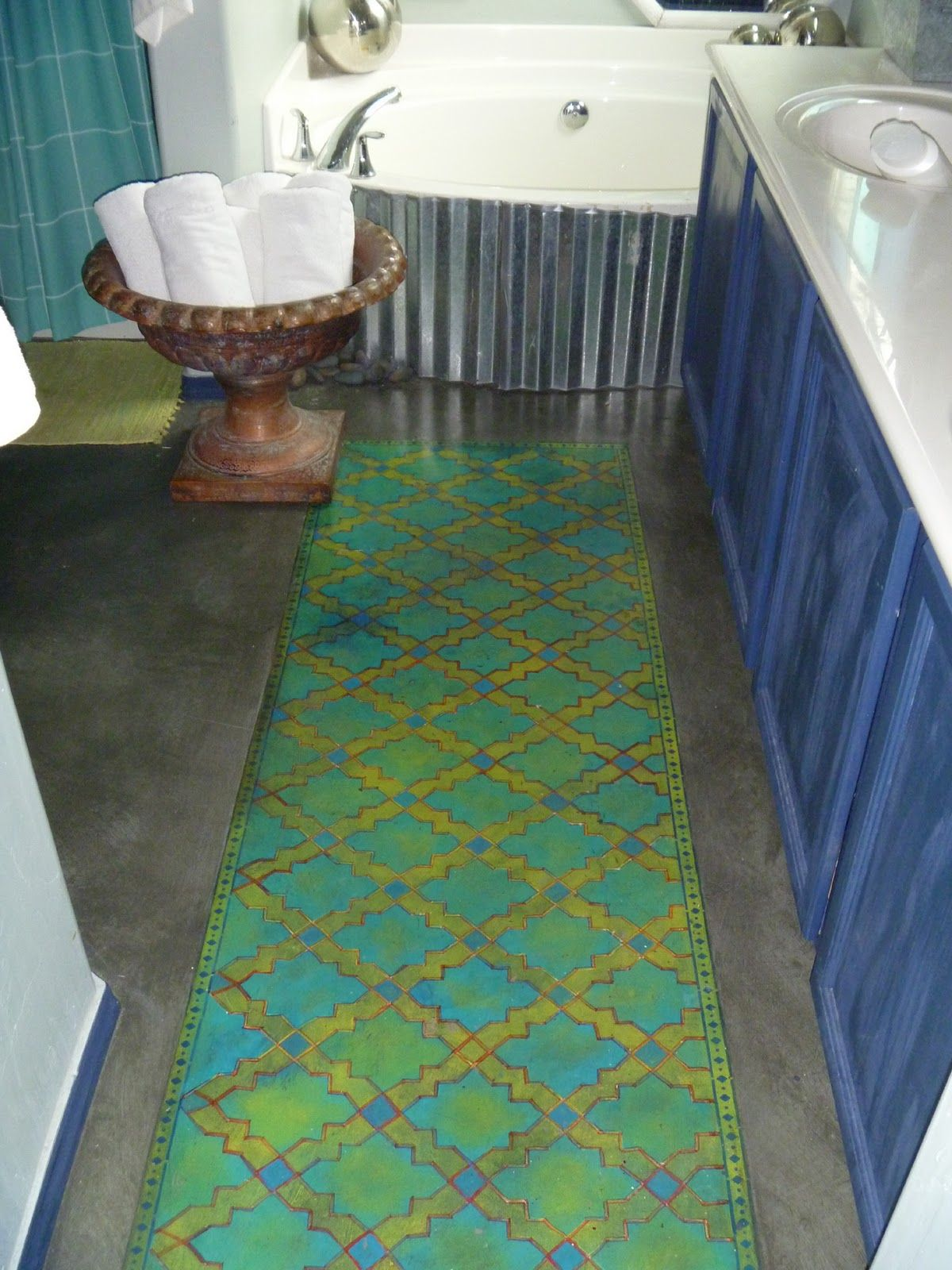 Stenciled Runner On A Concrete Bathroom Floor From DESIGN SHARE: Stylish  Stencils. Check Out The Corrugated Tub Surround.
