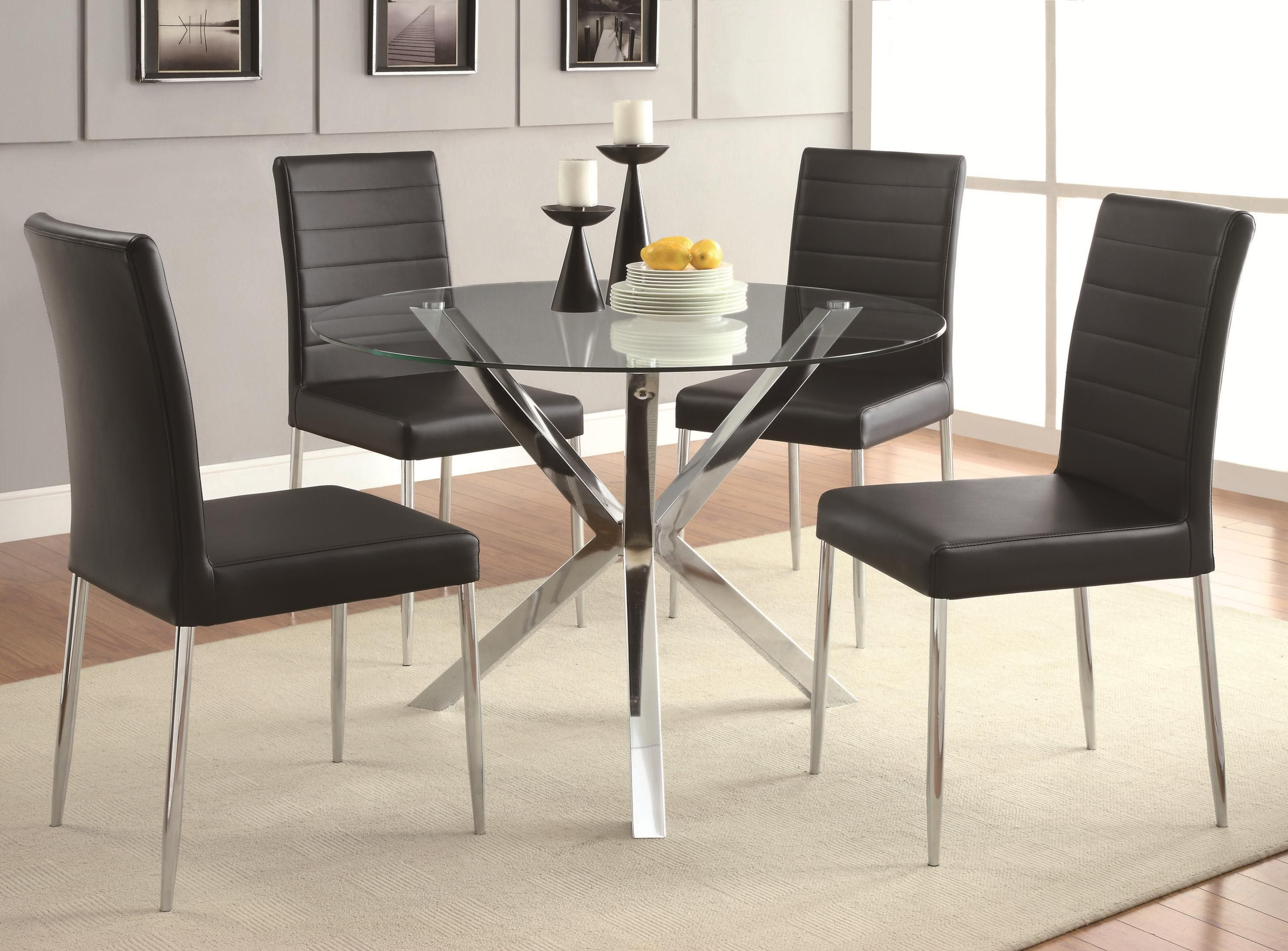Vance Contemporary Glass Top Dining Table With Unique