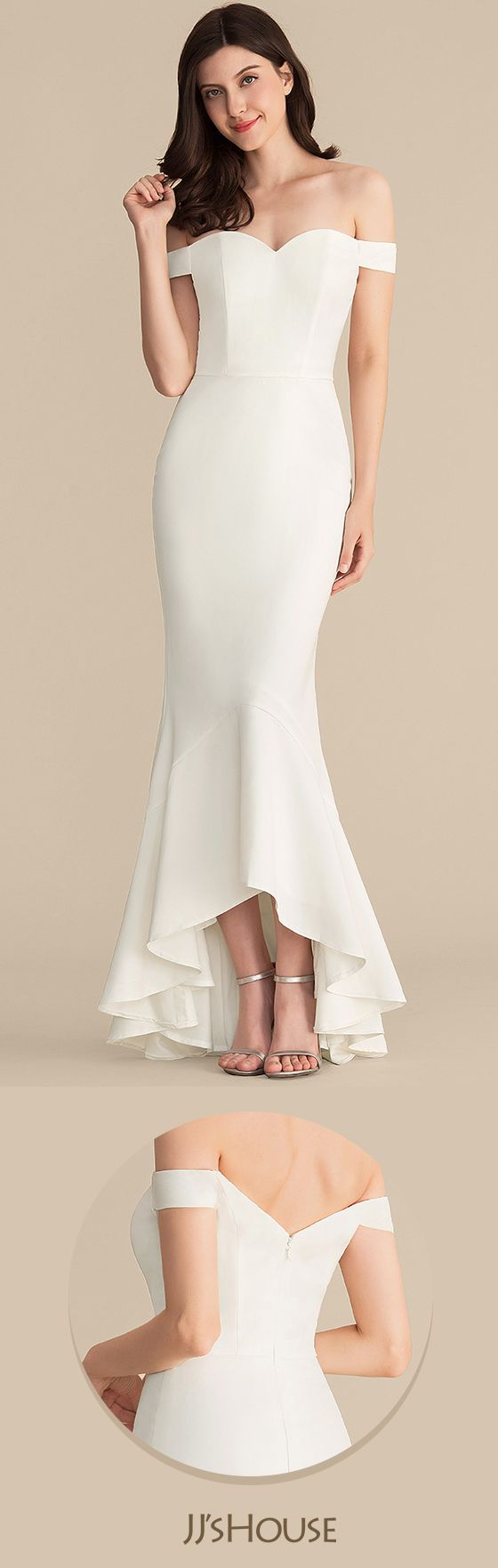 Trumpetmermaid offtheshoulder asymmetrical stretch crepe