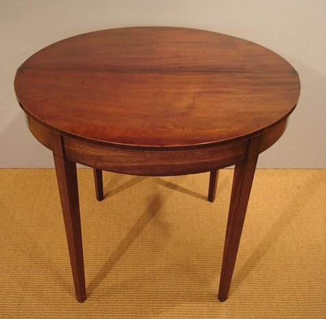 Georgian Demi Line Tea Table Antique Half Round