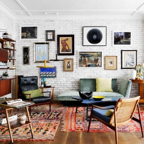 Mid Century Modern Meets Boho Chic Brick Wall Living Room