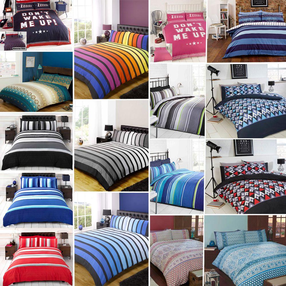 Stripe / Stripey Duvet Quilt Comforter Cover Bedding Set