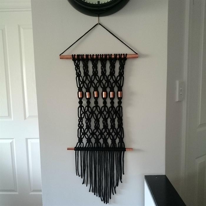 Black Copper Macrame Wall Hanging Macrame Design Macrame Patterns Macrame Wall Art