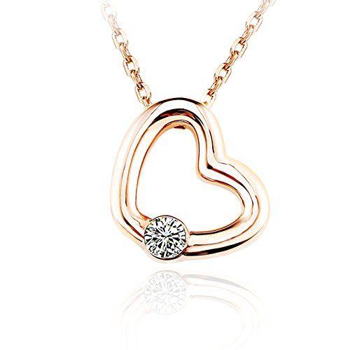 Ouxi rose gold color heart love pendant necklace with cub ouxi rose gold color heart love pendant necklace with cub aloadofball Images