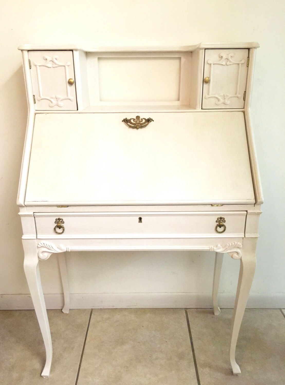 Vintage Secretary Desk. Antique White Secretary Desk. by CharismaGift on  Etsy https:/ - Vintage Secretary Desk. Antique White Secretary Desk. By