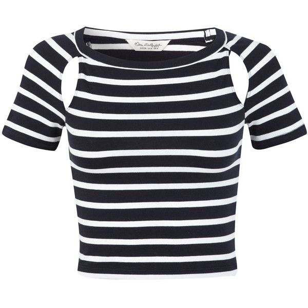 Miss Selfridge Stripe Short Sleeve Cutout Top (565 RUB) ❤ liked on Polyvore featuring tops, crop tops, miss selfridge, outfits, black, cutout tops, cut out crop top, short sleeve tops and short sleeve crop top
