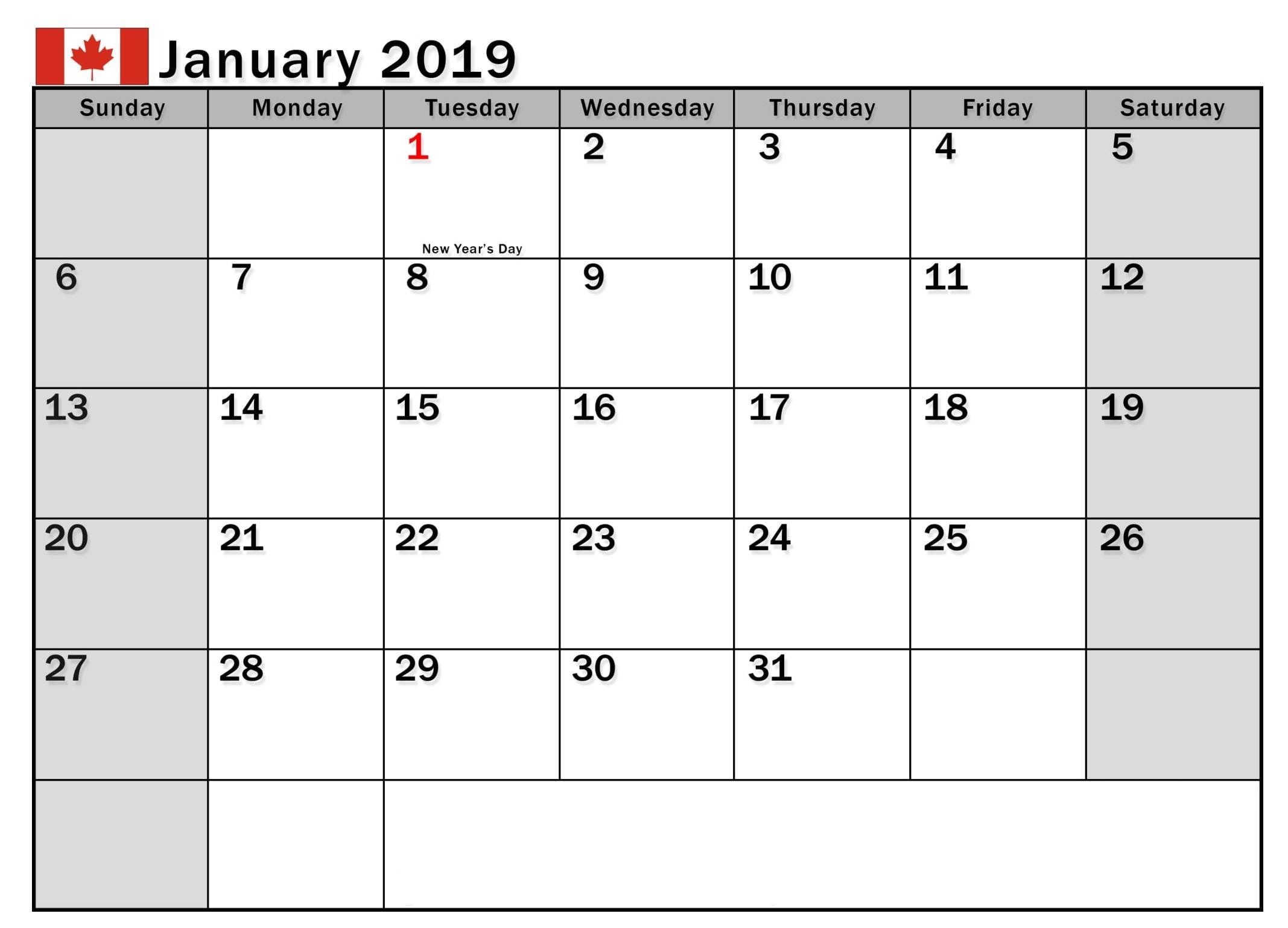 January 2019 Calendar Canada With National And Public Holidays