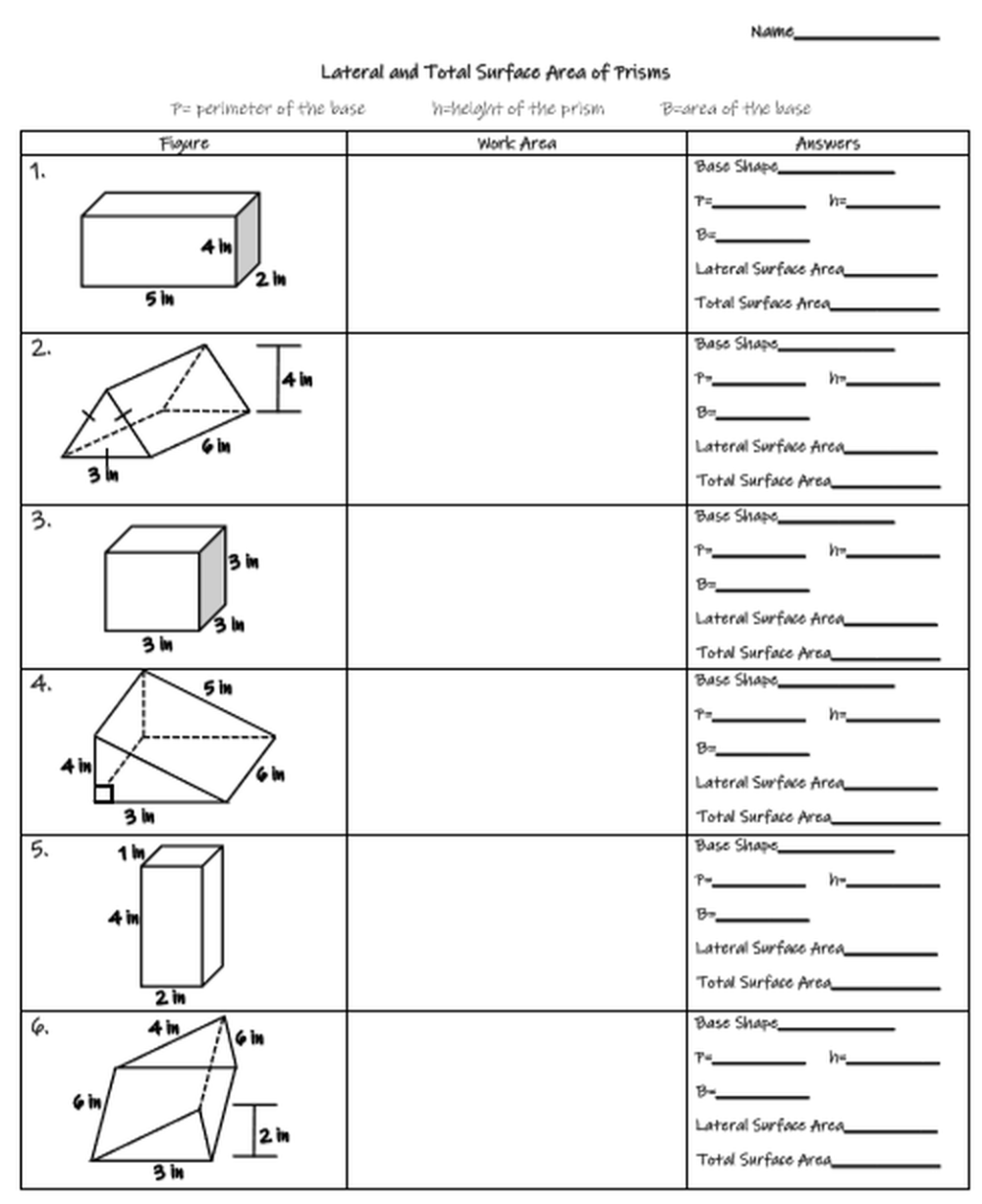 Lateral And Total Surface Area Of Prisms Rectangular Triangular And Cylinder Amped Up Learning Area Worksheets Surface Area Activities Surface Area [ 1226 x 1000 Pixel ]