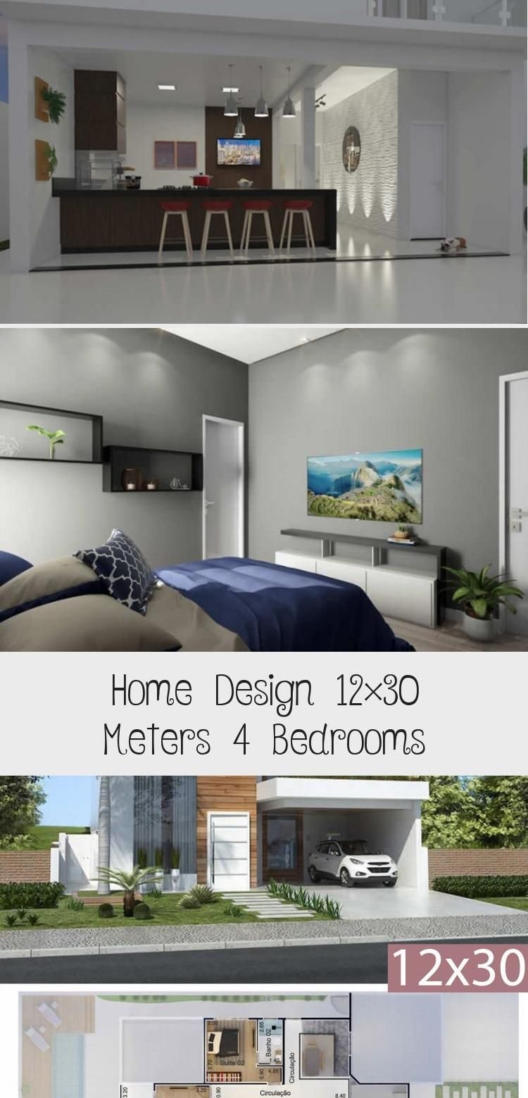 Home Design 12x30 Meters 4 Bedrooms Home Design With Plansearch Modernhouseslayout Modernhousesgarage Modern In 2020 House Design Modern House Modern Architecture