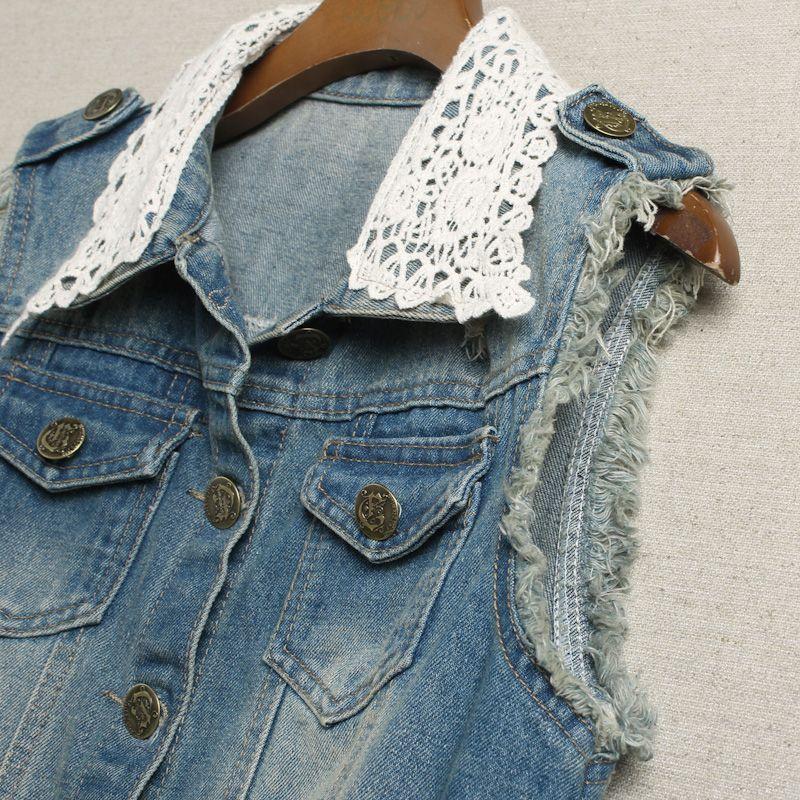 buraco chinesa mais barata 2013 casaco de primavera sem mangas rendas denim colete de moda feminina do vintage emendados lavado jaquetas em Coletes - Feminino de Roupas & acessórios no AliExpress.com