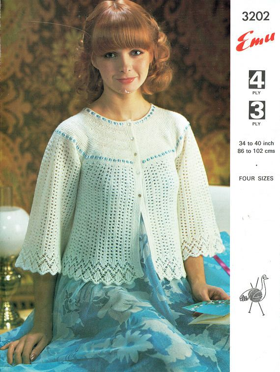 Pdf 1970s Ladies Womens Bedjacket Knitting Pattern Emu 3202