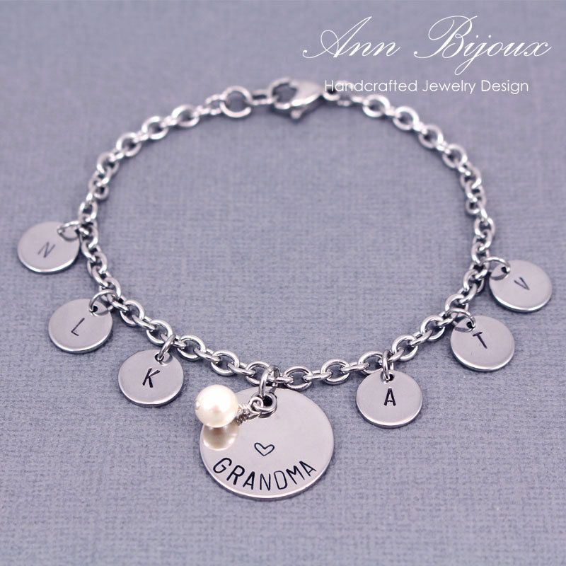 Grandma Hand Stamped Bracelet Personalized Family Charm Dainty Initial Chain Gift By Annbijouxnewyork On Etsy