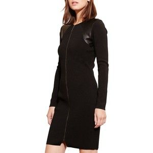 Lauren Ralph Lauren Petite Zip-Front Dress Women's Black Petite X-Larg