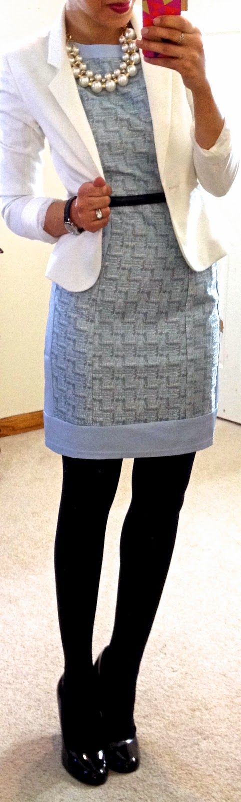 tweed sheath dress, blazer, & pearls.