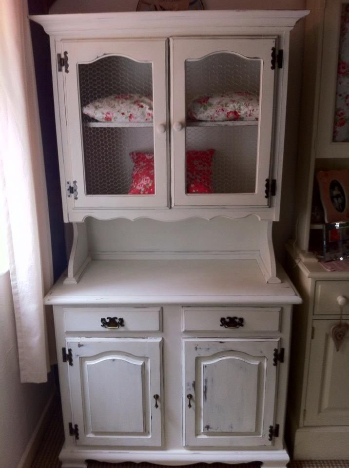 White Kitchen Hutch chalk+paint+hutches | kitchen hutch finished in old white chalk