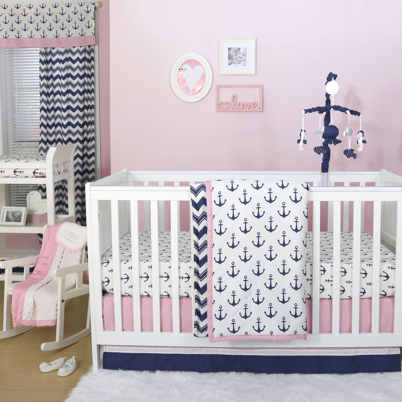 The Peanut Shell 3 Piece Baby Crib Bedding Set Navy Blue And Pink Anchor Nautical Theme 100 Cotton Quilt Crib Skirt And Sheet Walmart Com Nautical Crib Bedding Beach