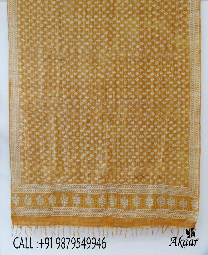 Block printed tussar silk dupattas. Price Rs. 1290.00