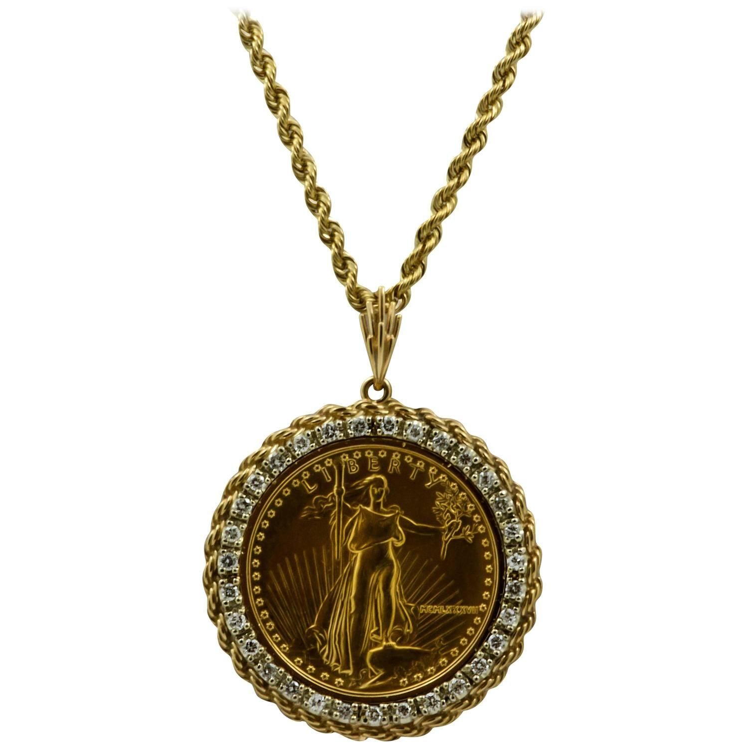 50 Liberty 1 Ounce Gold Coin Pendant With Diamond Bezel 1stdibs Com Coin Pendant Coin Jewelry Gold Coins