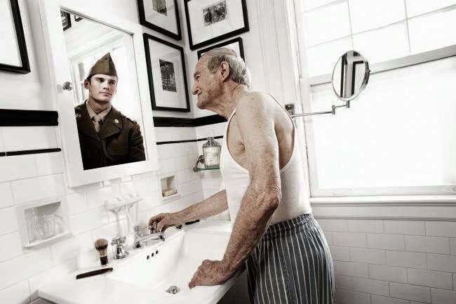 man, growing old, memories, nostalgic, mirror, reflection, reminisce.