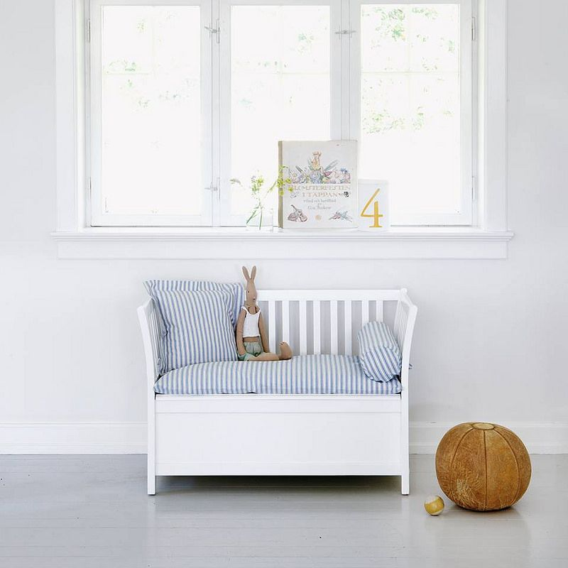 Stunning White Scandavian Childrens Storage Bench By Oliver Furniture Of Sweden Perfect For The Nursery Or Playroom Made From Sustainable Wood