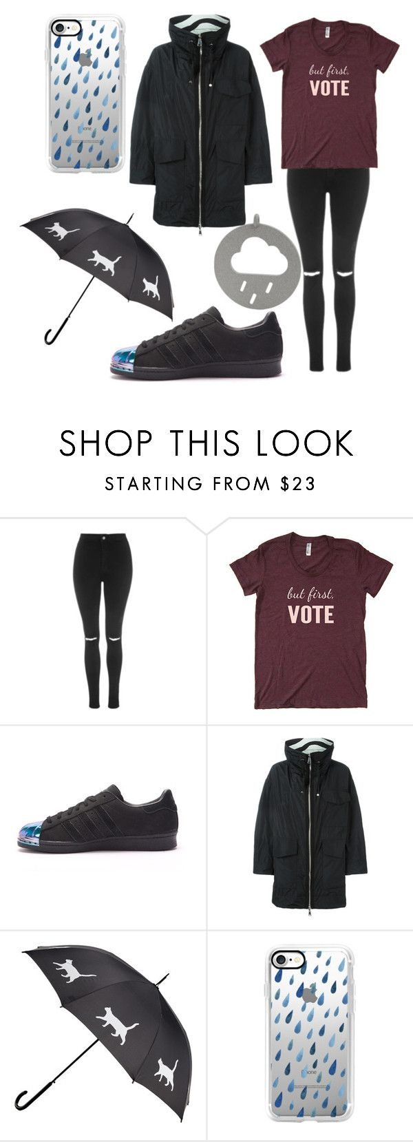 """""""RAIN ☔"""" by sameeptabagga02 ❤ liked on Polyvore featuring Topshop, adidas, Moncler and Casetify"""