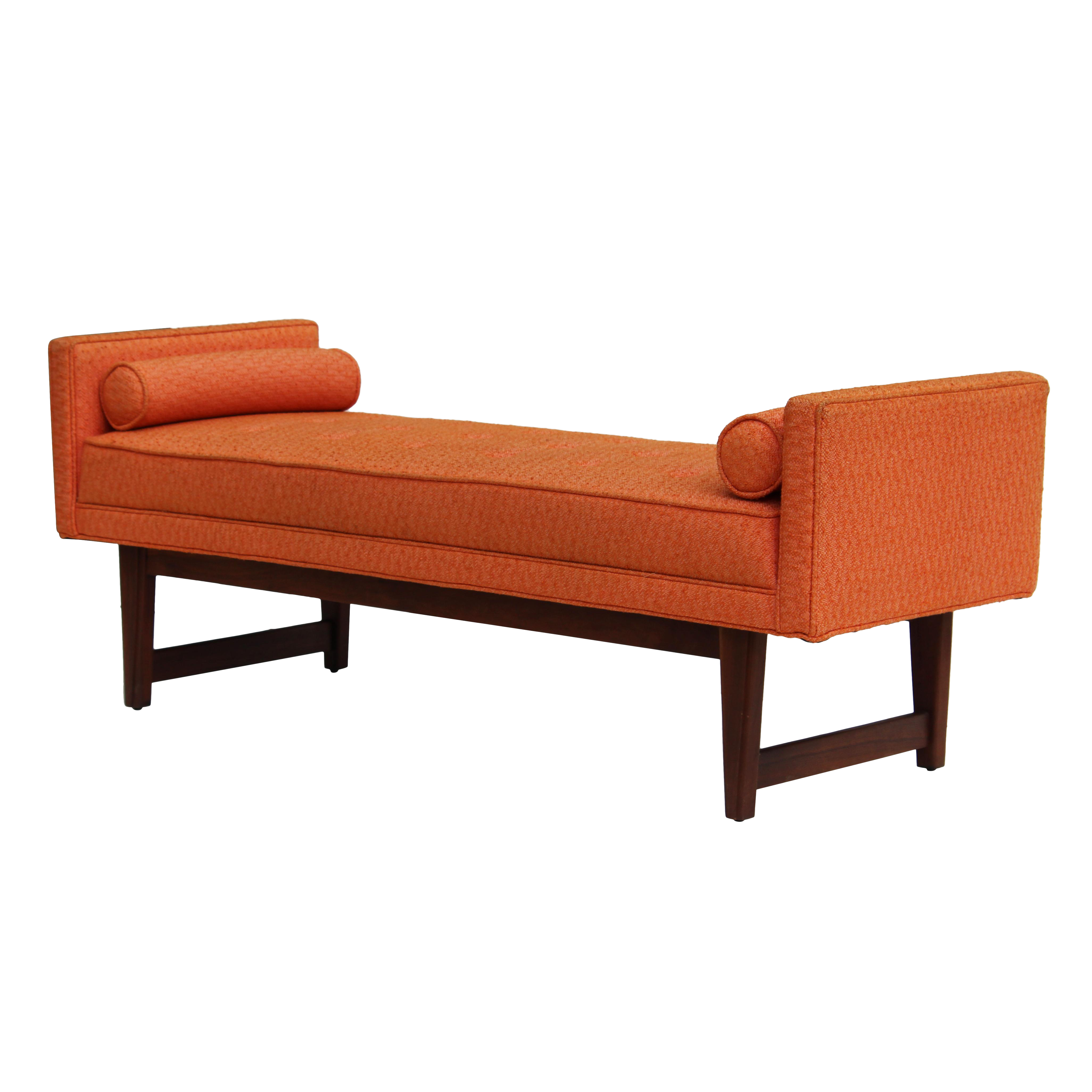 Chic Mid Century Modern Upholstered Bench By Selig Original Orange Textured Fabric With Pink Wove Mid Century Modern Style Mid Century Bench Upholstered Bench