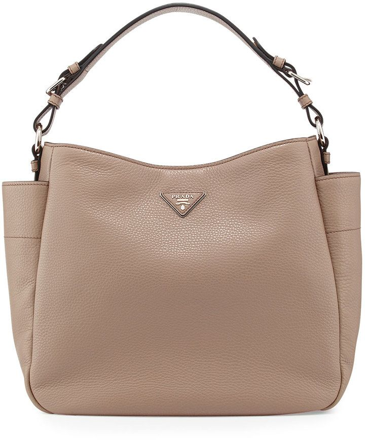 Prada Large Side Pocket Hobo Bag Gray Argilla