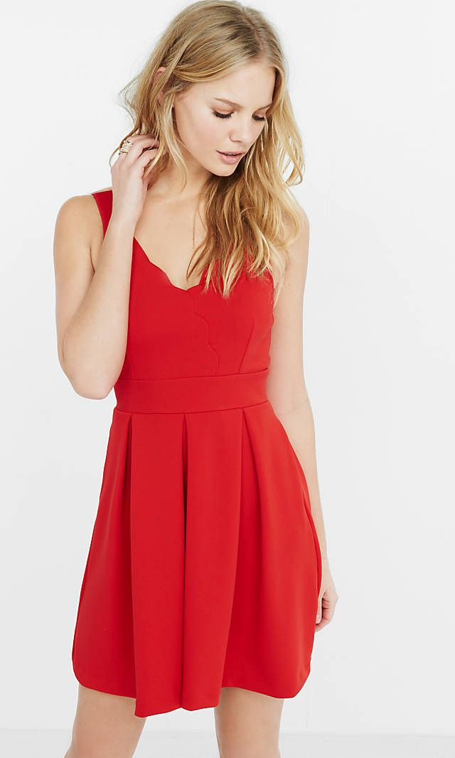 Red Scalloped Fit And Flare Dress from