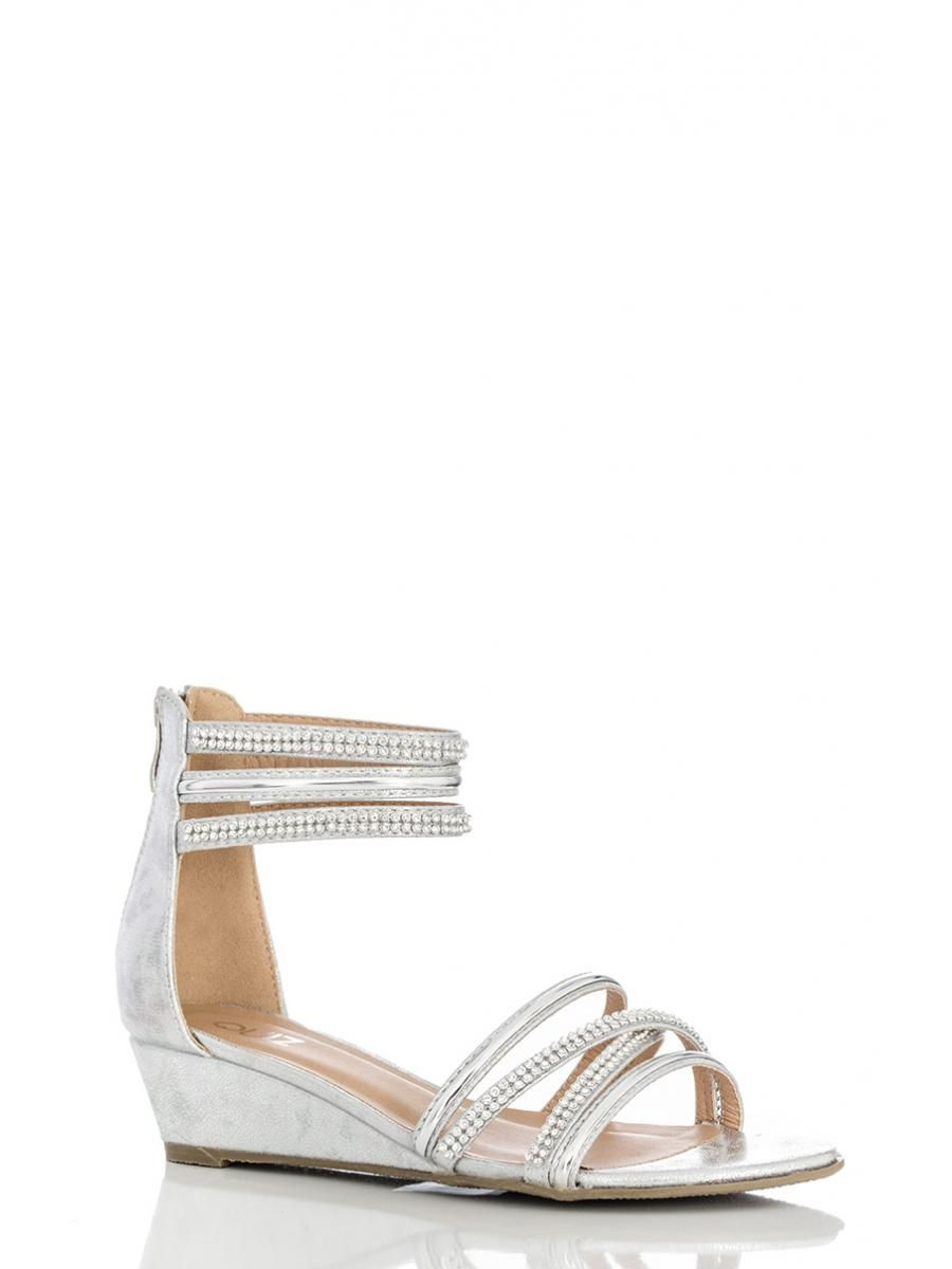 Silver Diamante Strap Low Wedge Sandals - Quiz Clothing