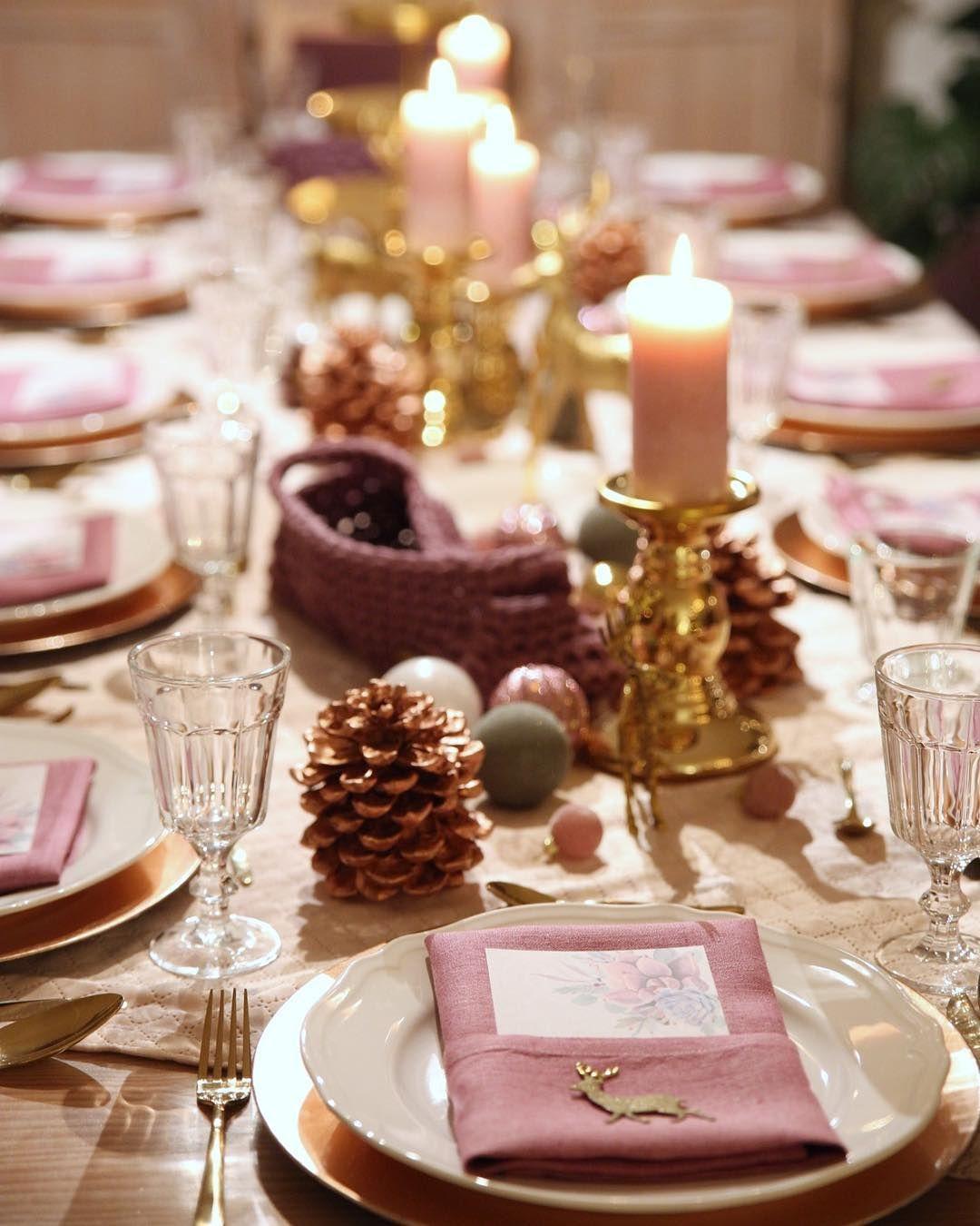 Blush Fig Gold Copper Christmas Table Concept Tischdeko
