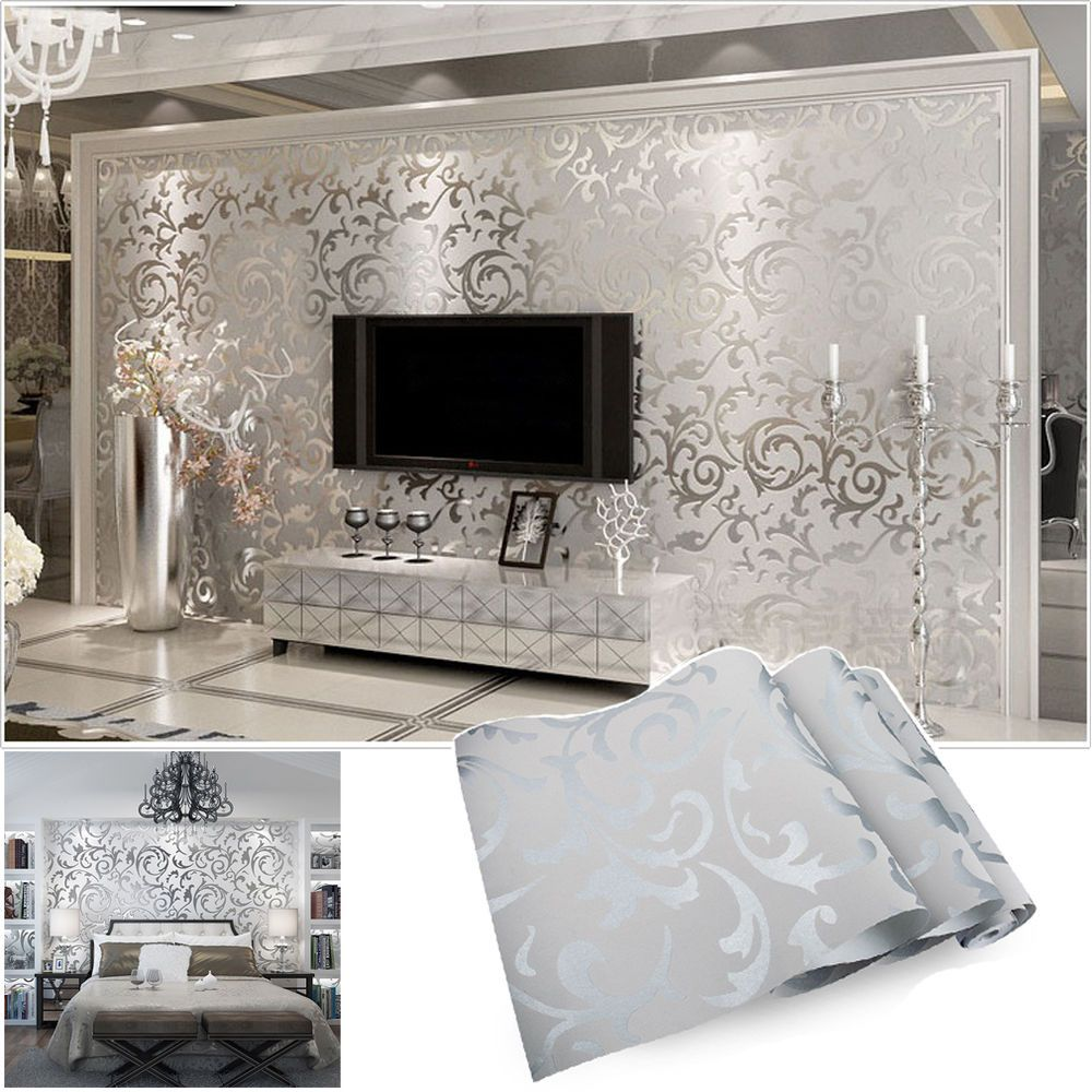 vliestapete 3d optik vlies wand tapete barock rolle wandtapete dekoration silber in heimwerker. Black Bedroom Furniture Sets. Home Design Ideas
