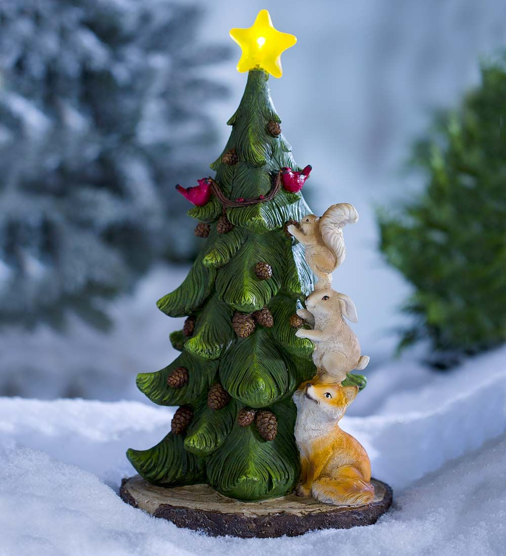 lighted christmas tree accent with woodland animals - Lighted Animals Christmas Decoration