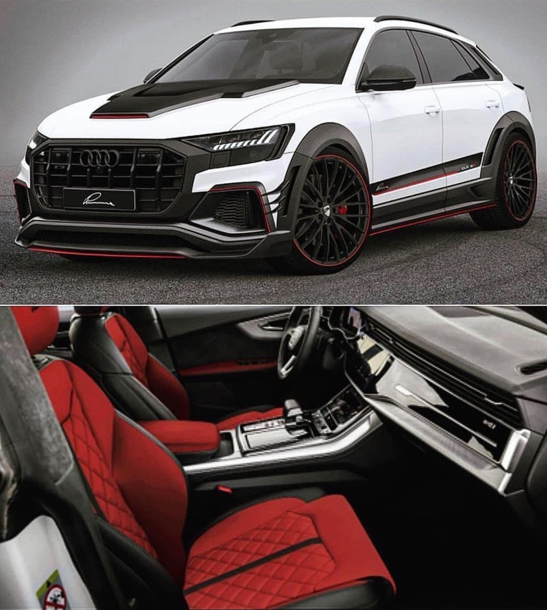 White Luxury Sports Car: 2019 Audi Q8 White/Custom Red Interior