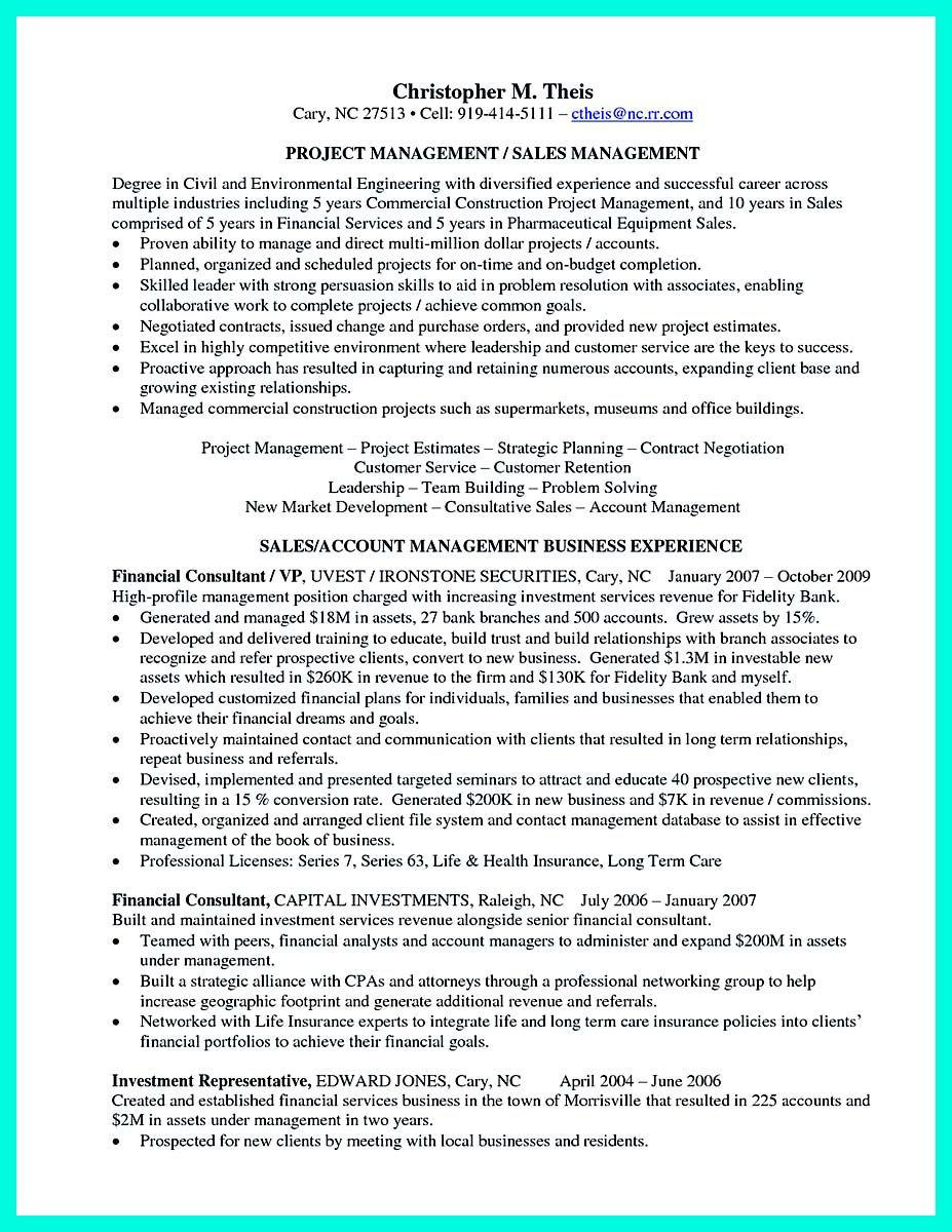 Investment Representative Sample Resume Awesome Perfect Construction Manager Resume To Get Approved .