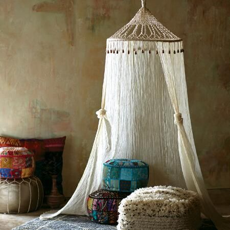 Boho Sheer Cotton Macrame Canopy | World Market | Kid's ...