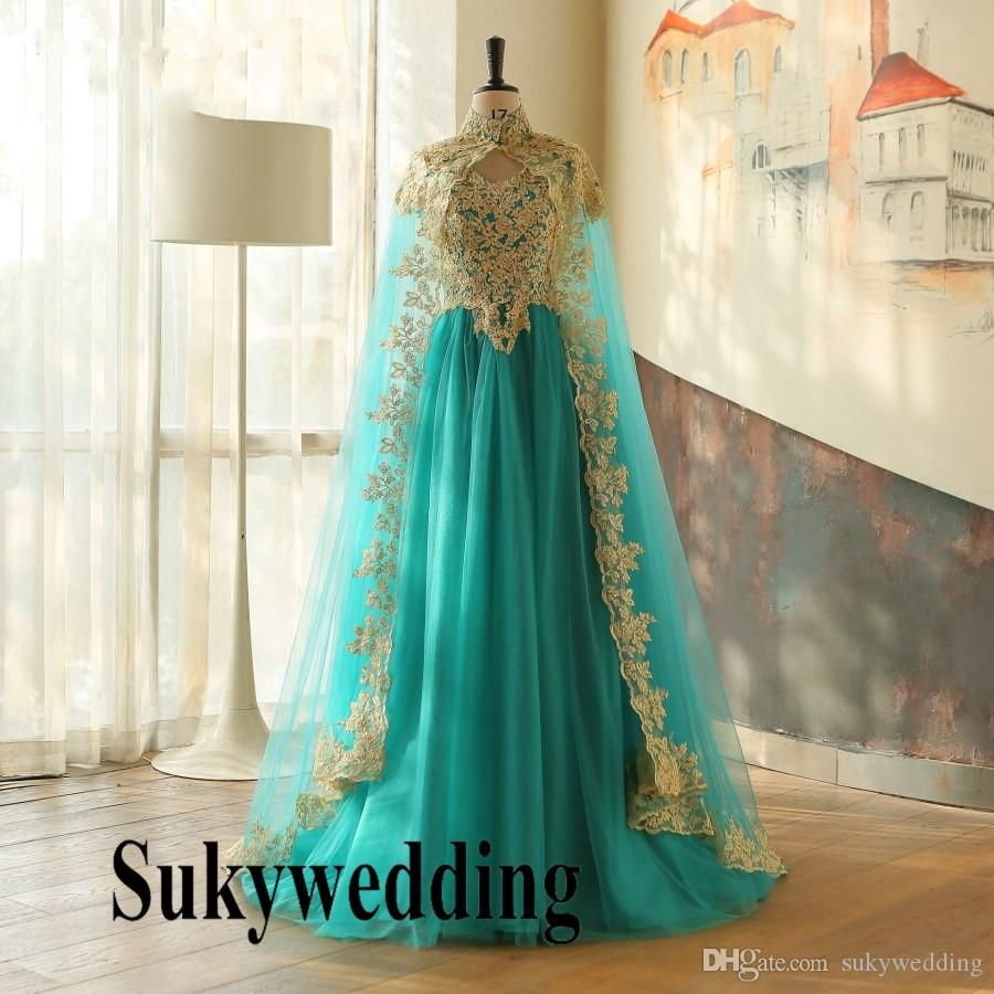 Turquoise Muslim Arabic Evening Dresses With Cloak Gold Appliques Moroccan Kaftan Dubai Prom Dress Turkish Pageant Formal Party Gowns From Sukywedding 120 61 Evening Dresses Elegant Evening Dresses Plus Size Evening Dresses [ 900 x 900 Pixel ]