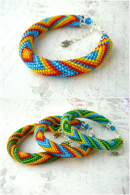 Beaded rope bracelet - Crochet bracelet - Seed beads bracelet ...